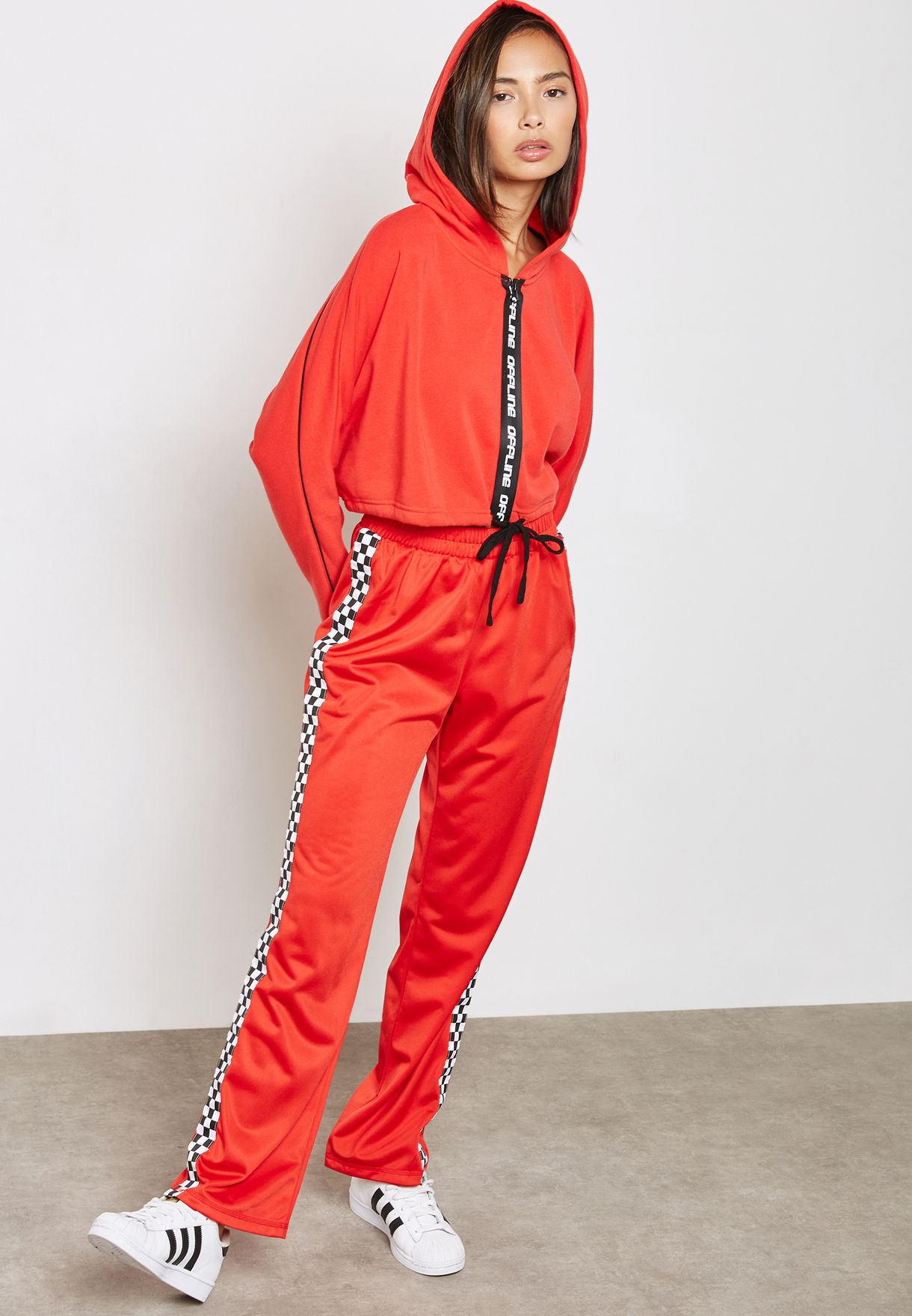 a7d140b6919d7 Shop Forever 21 red Graphic Cropped Hoodie 193404 for Women in Saudi ...