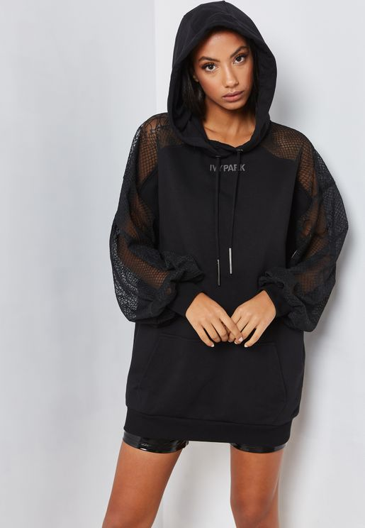 Lace Detail Hooded Dress