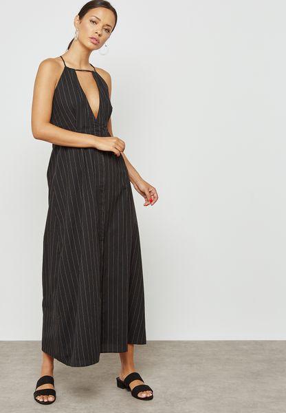 Striped Keyhole Dress