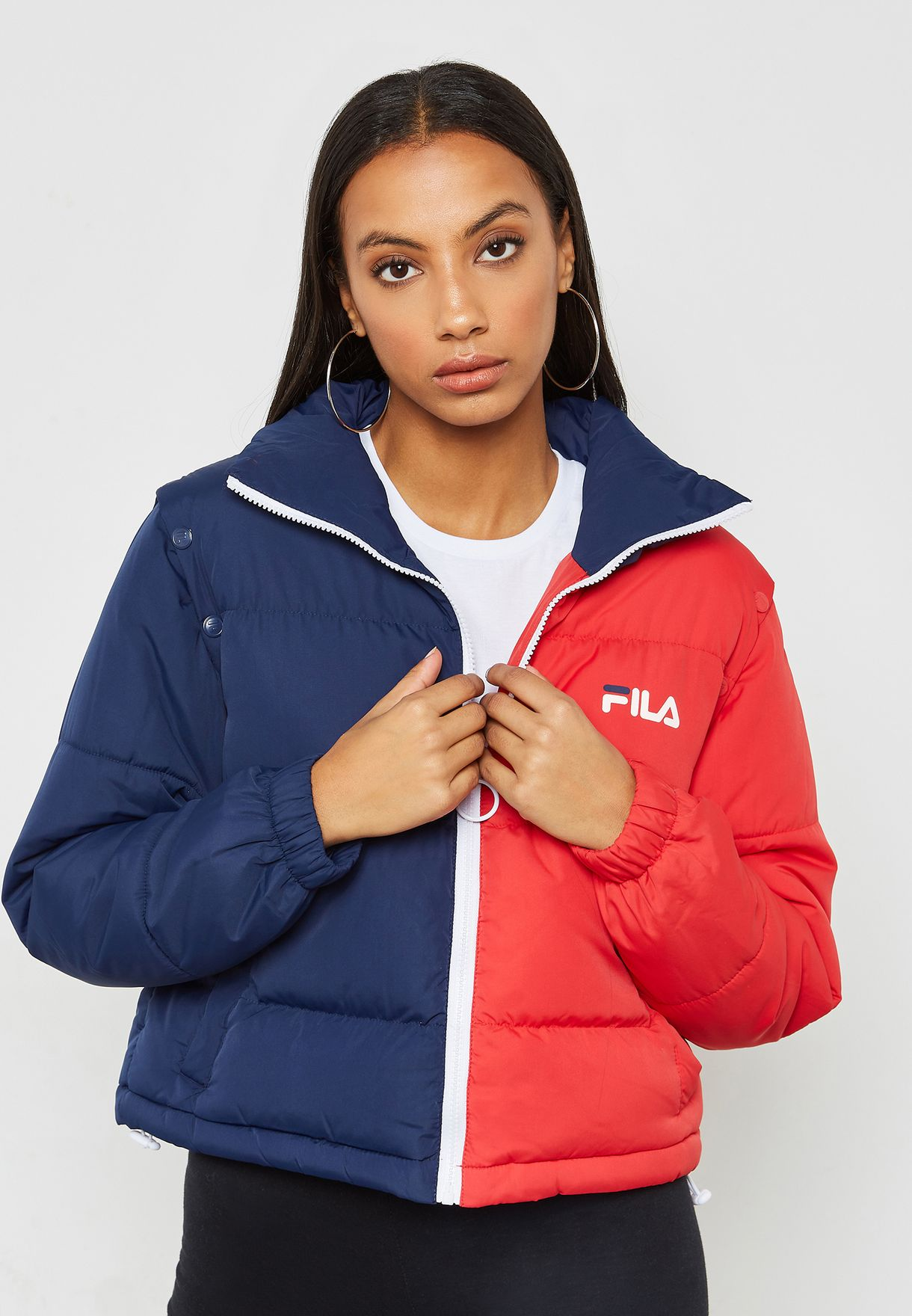 ae47a1812ced Shop Fila multicolor Martina Removable Sleeve Puffer Jacket LW183Y93-410 for  Women in Saudi - FI041AT90CRP