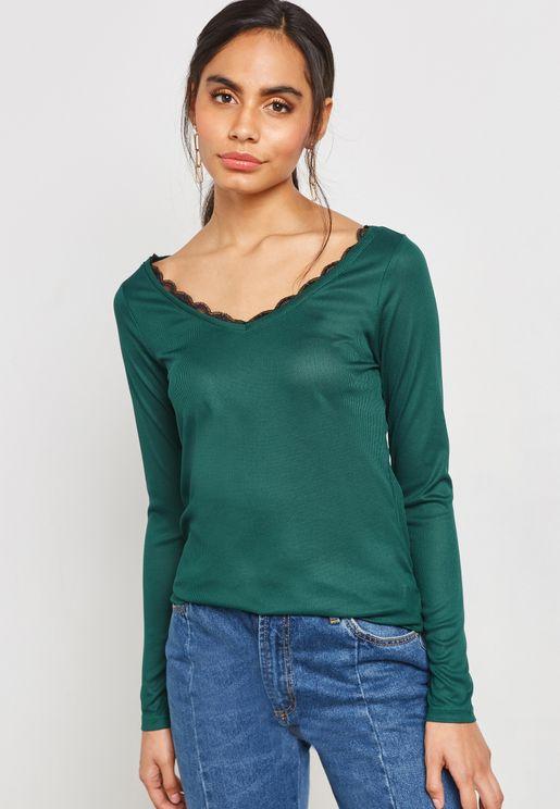 Lace Trim Long Sleeve T-shirt