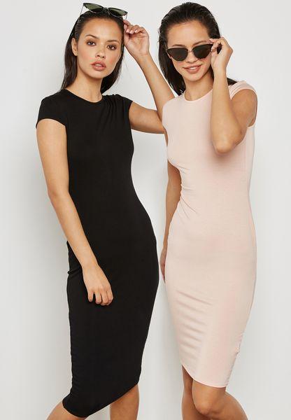2 Pack Jersey Midi Dress