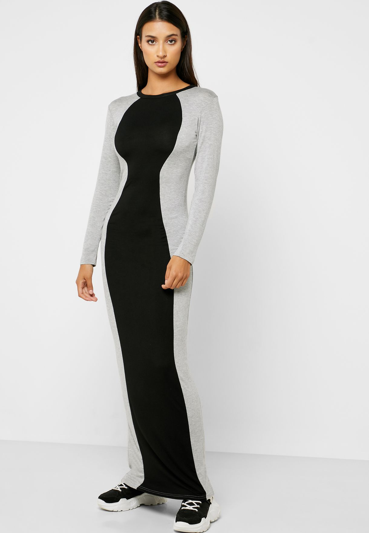 Colourblock Bodycon Maxi Dress