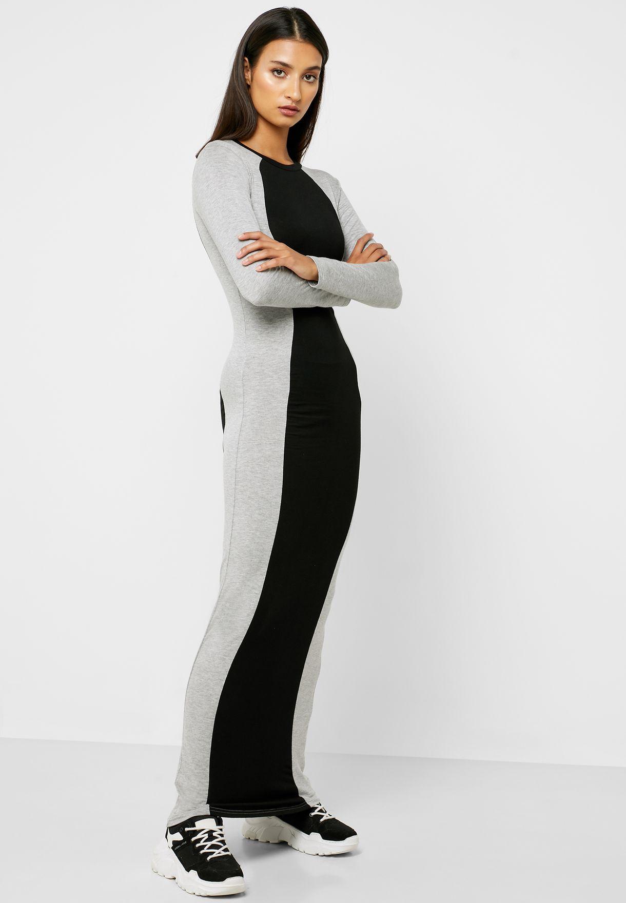 Colourblock Bodycon Maxi Dress
