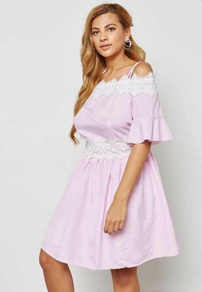 Striped Lace Trim Cold Shoulder Dress
