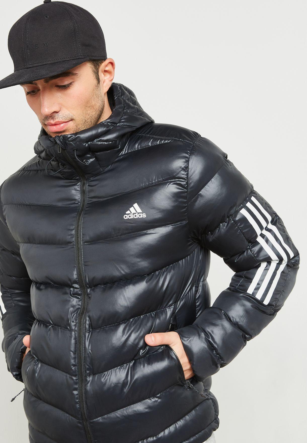 988db12e070c Shop adidas black 3 Stripe Itavic Padded Jacket BQ6800 for Men in UAE -  AD476AT90PRD