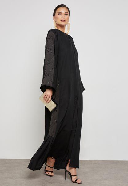Embroidered Side Paneled Abaya