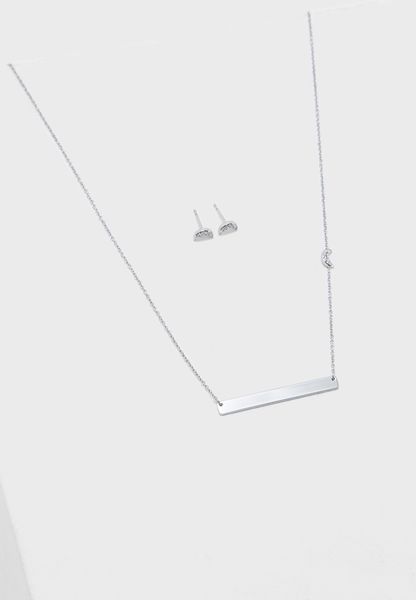 Crescent Moon Studs And Plaque Necklace Set