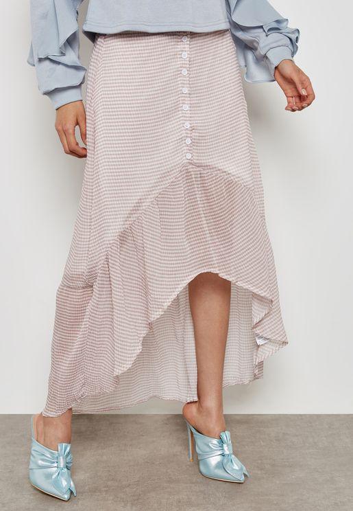 Drop Hem Button Detail Skirt