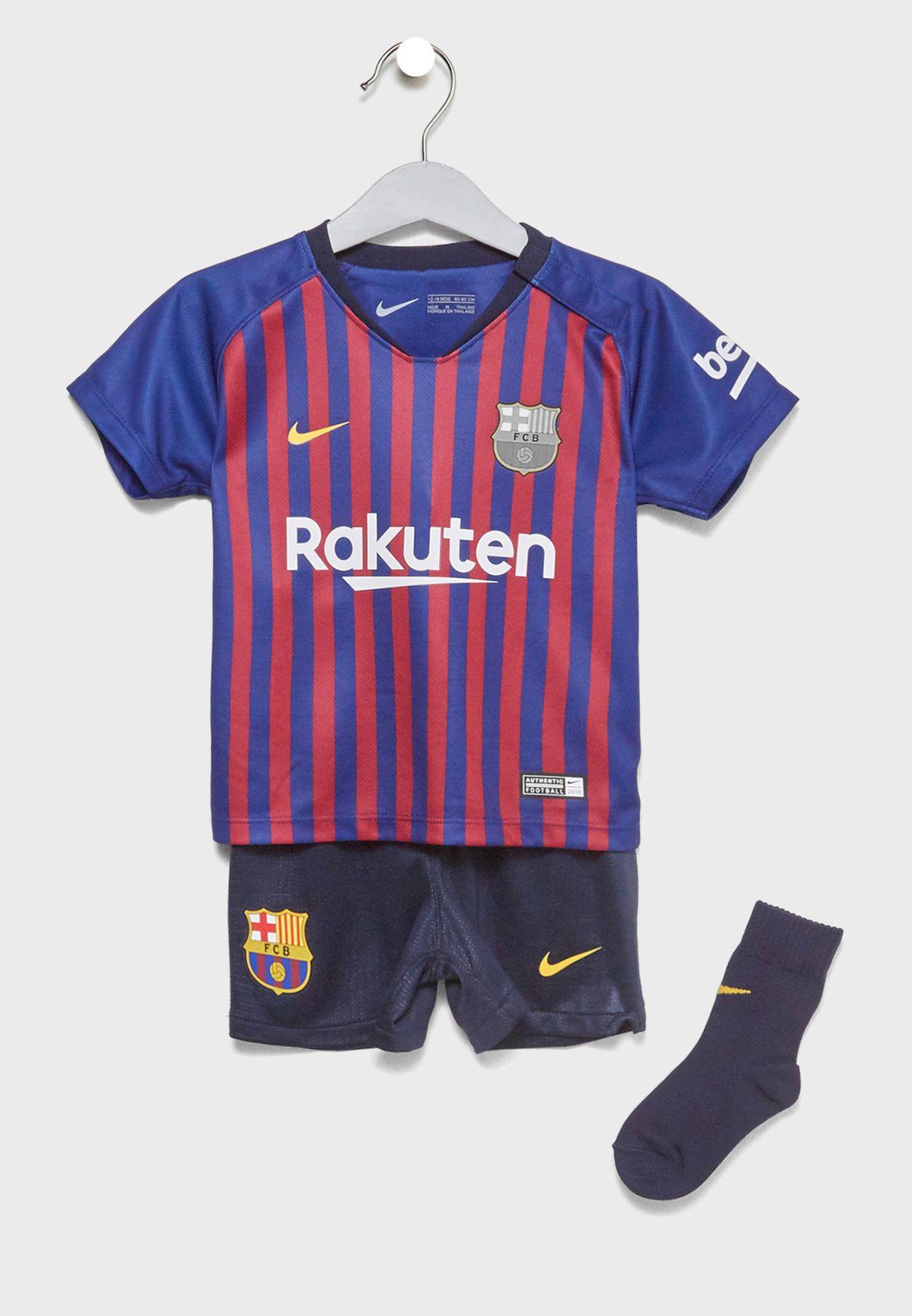 f33a028494d Shop Nike blue Infant FC Barcelona 18/19 Home Kit 894485-456 for ...