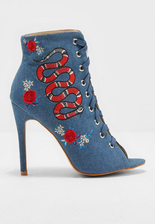 Embroidery Ankle Boots