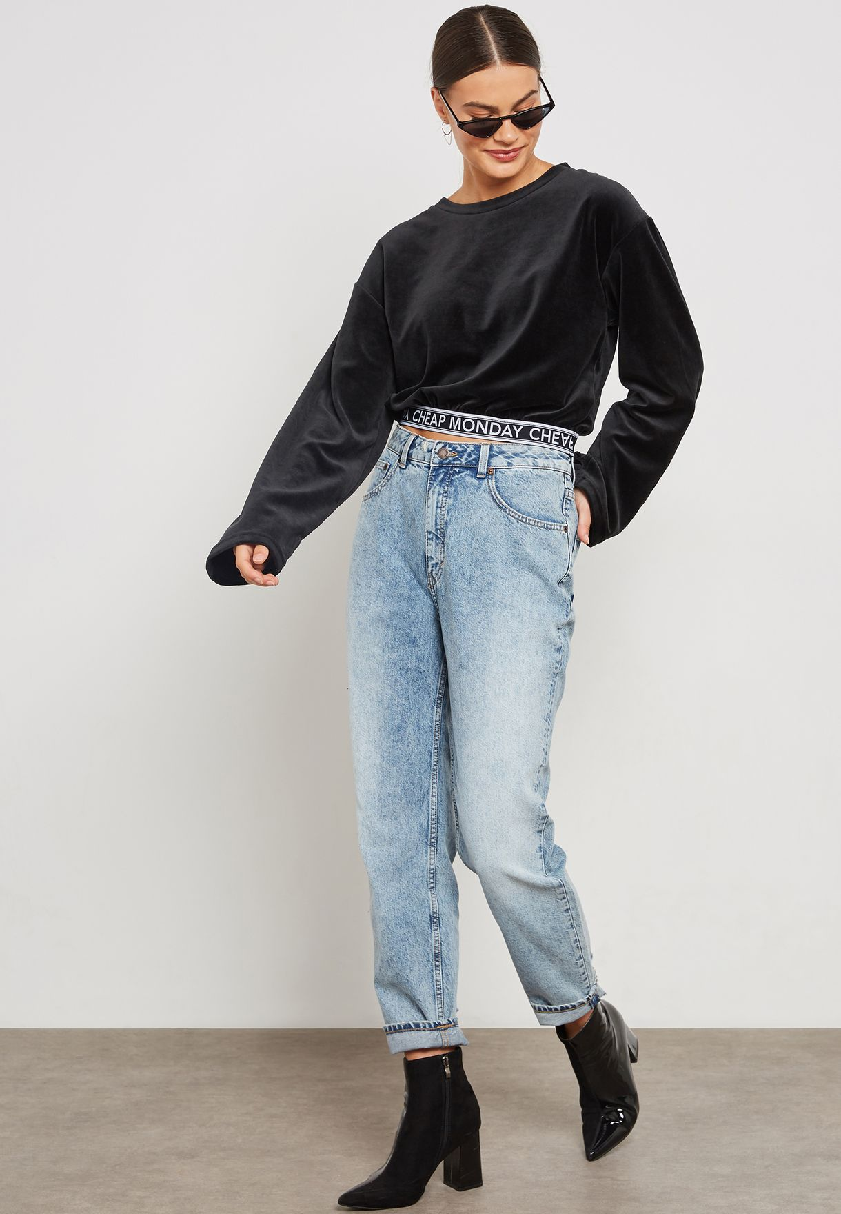 Cropped Velvet Logo Tape Top