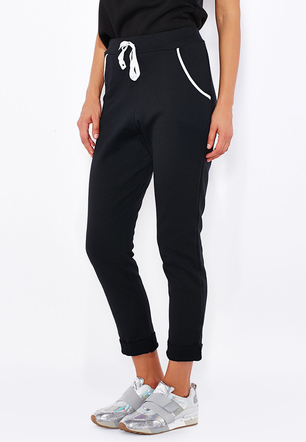 b057e9c22cb Shop Boohoo black Drawstring Sweatpants AZZ10743 for Women in Kuwait ...