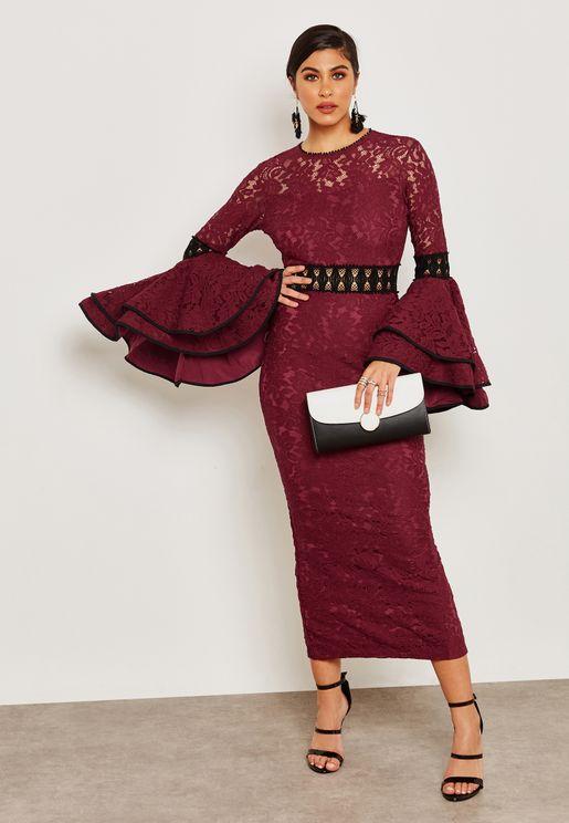 Lace Ruffle Sleeve Dress
