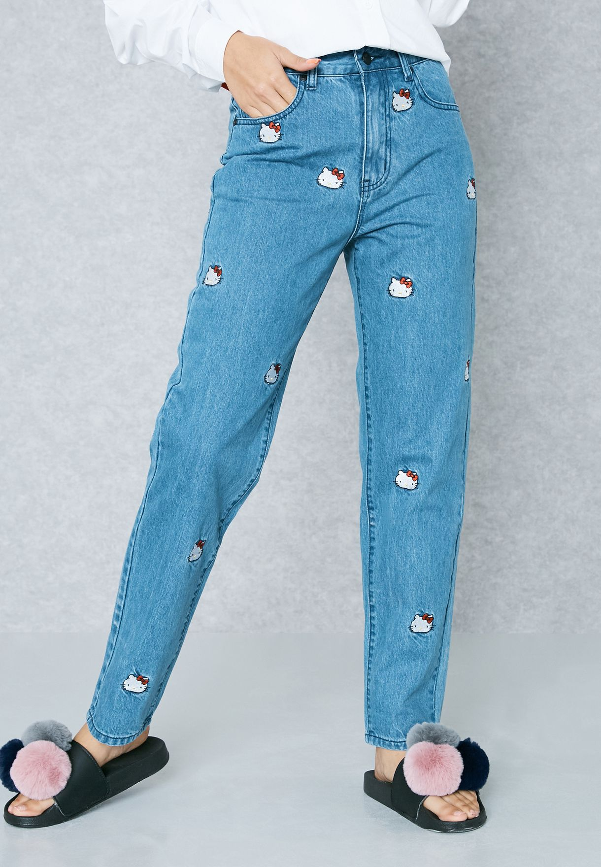54edafd19 Shop Lazy Oaf blue Hello Kitty Embroidered Jeans HKJEAN for Women in ...