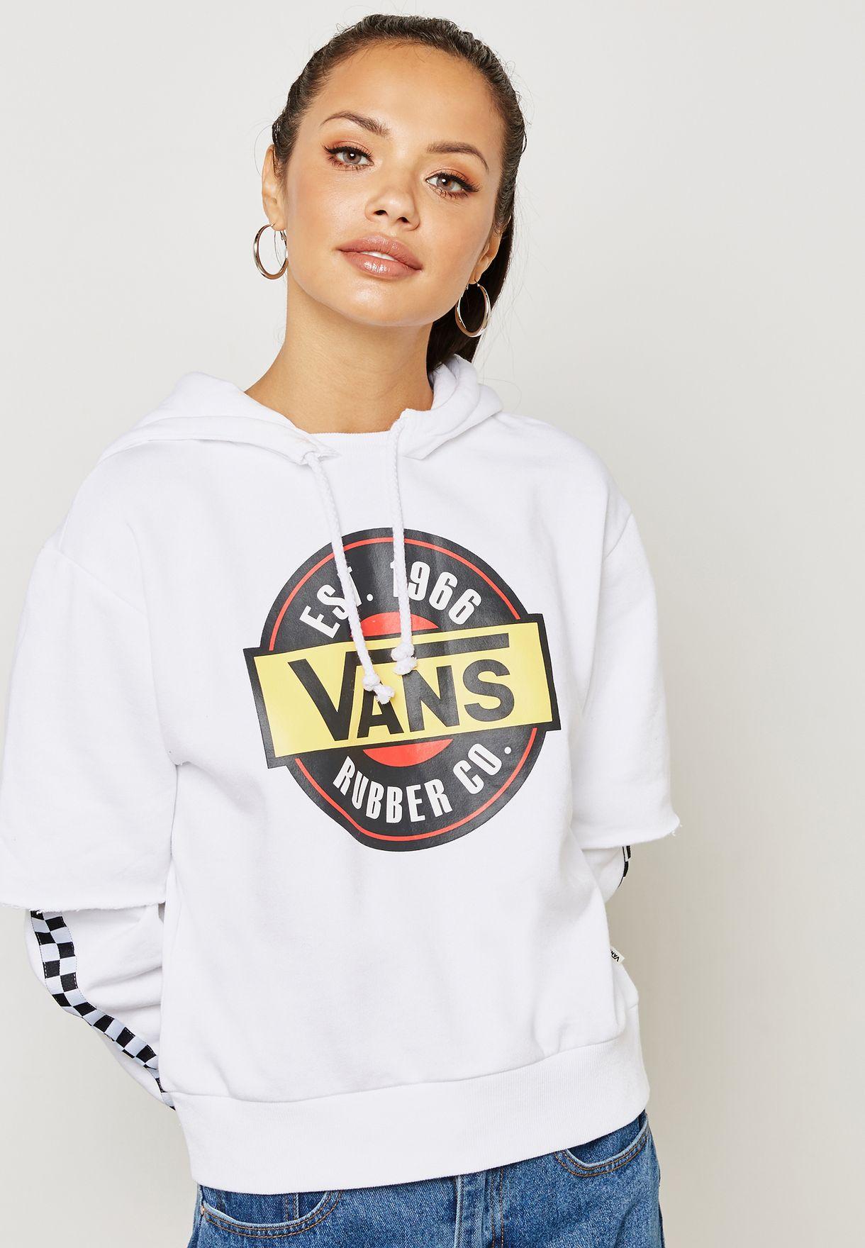 91e9527a3eab Shop Vans white Chromo Twofer Hoodie VA3QVIWHT for Women in UAE ...