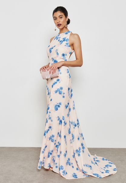 Halter Floral Print Mermaid Dress