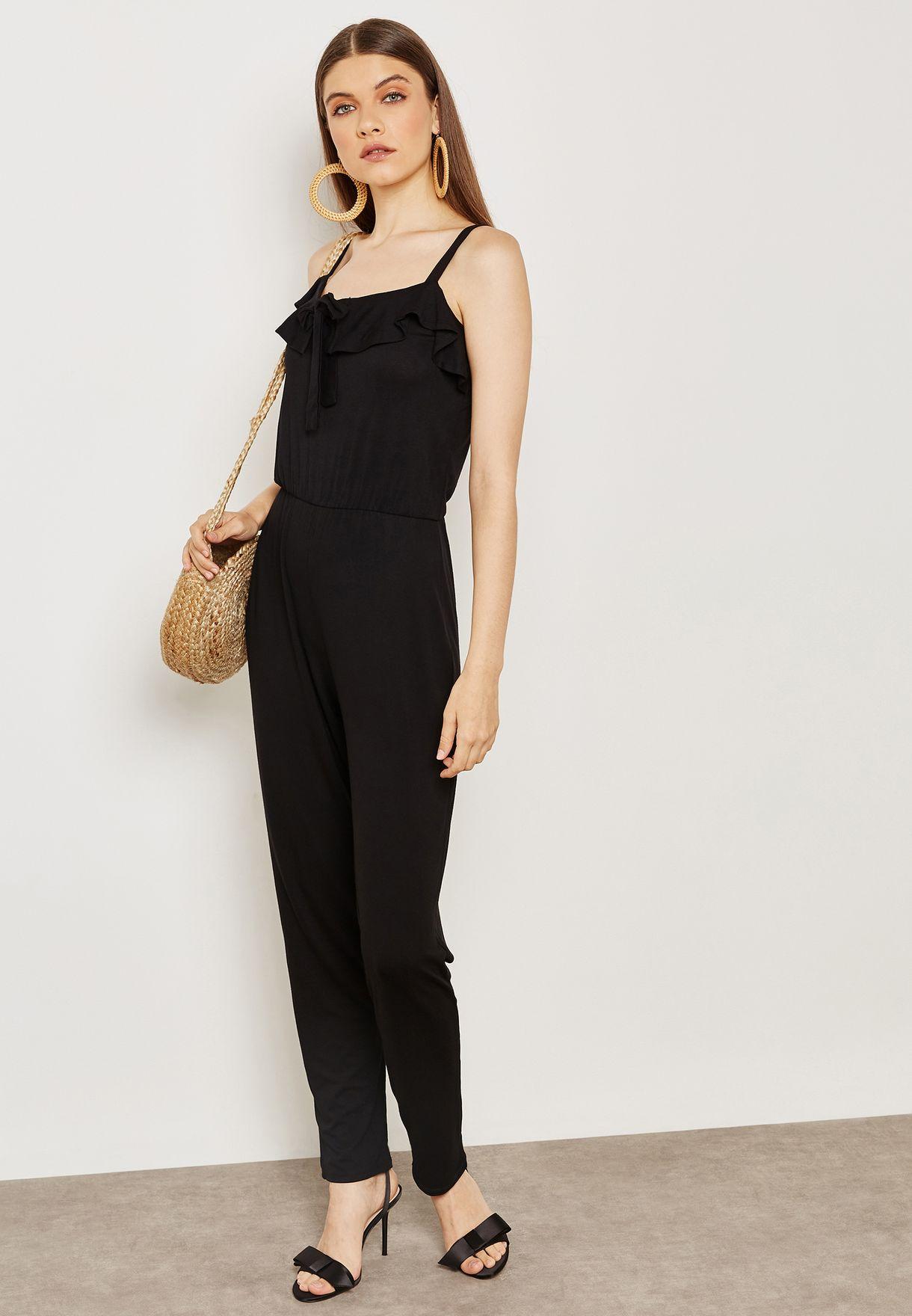 0a290d80bc8 Shop Dorothy Perkins black Front Tie Ruffle Detail Jumpsuit 07592301 ...