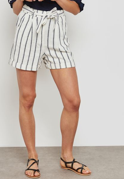 Striped Paper Bag Shorts