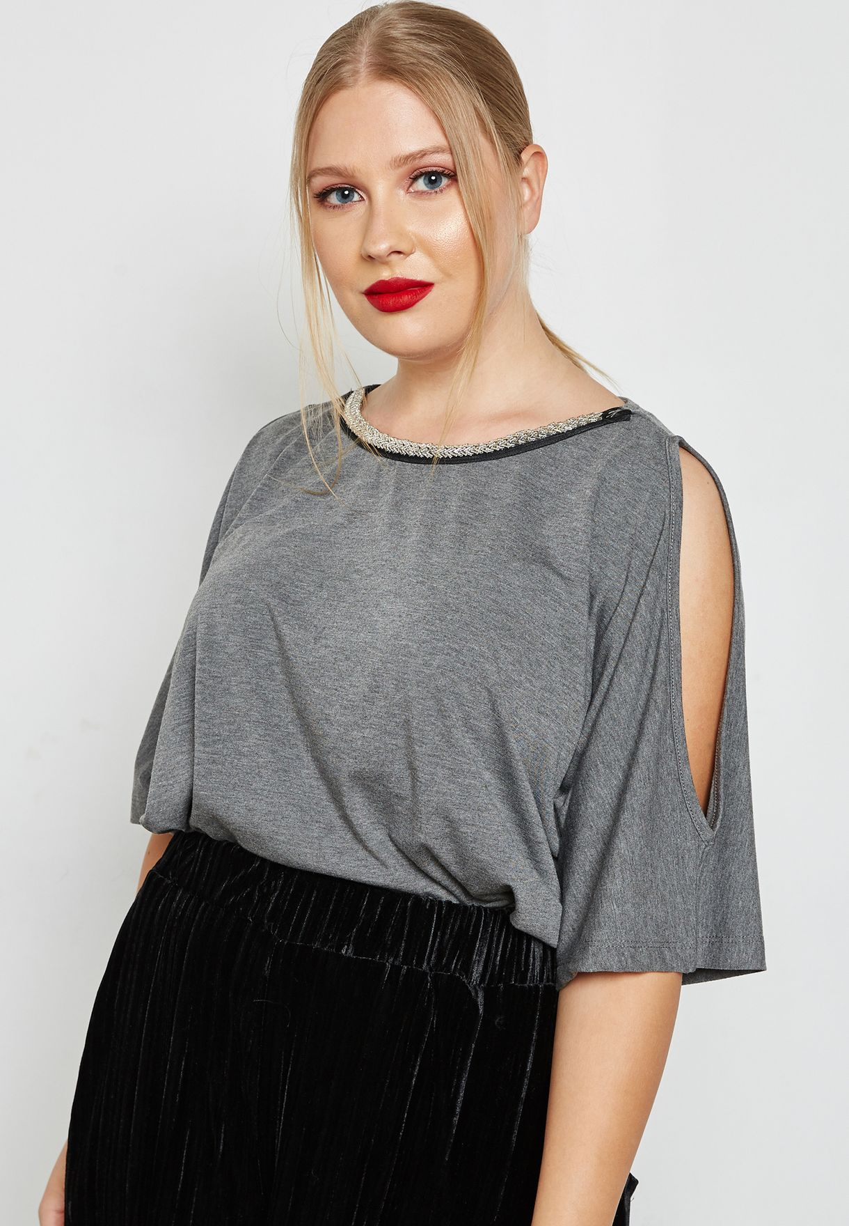Embellished Neck Cold Shoulder Top