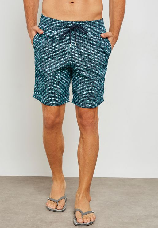 Modernist Fish Print Swim Shorts