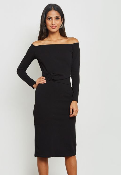 Bardot Ring Detail Midi Dress