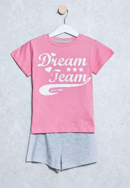 Kids Slogan Printed T-Shirt+Shorts