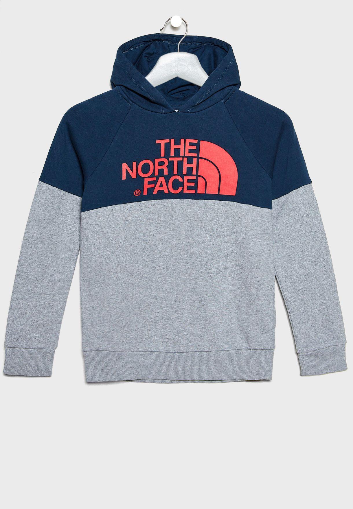 6cfe0c8023b4 Shop The North Face multicolor Youth Drew Peak Raglan Hoodie T93L6K ...
