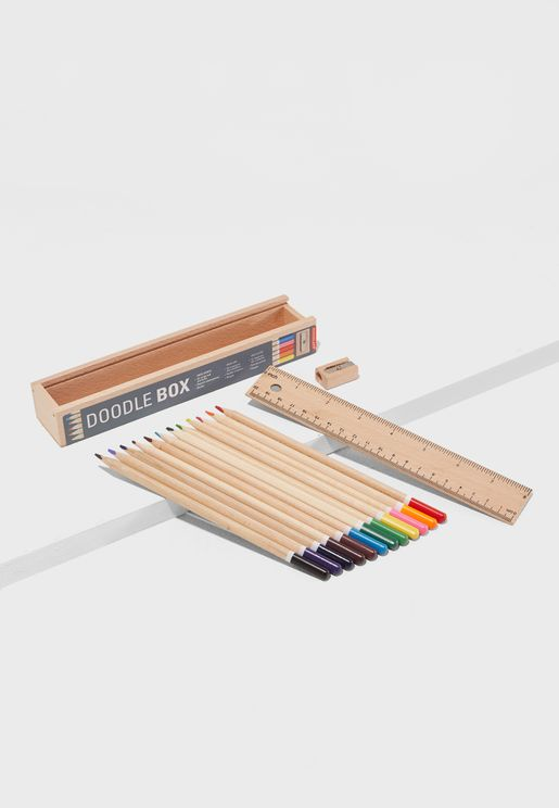 Color Pencil and Ruler Doodle Set