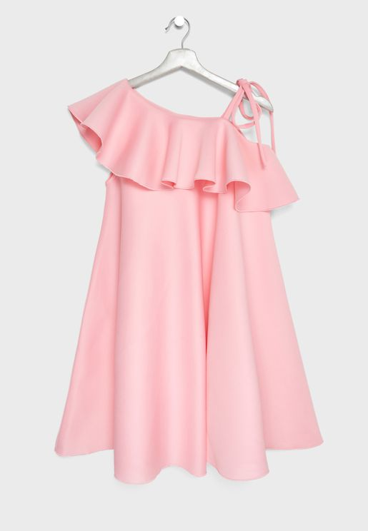 Teen Tie Shoulder Ruffle Dress