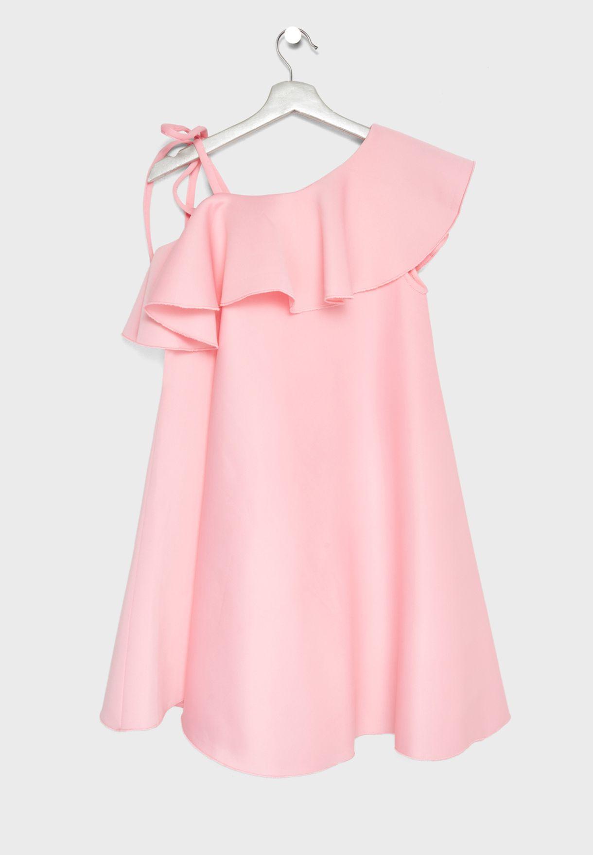 Teen Tie Shoulder Ruffle Dress
