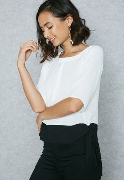 Colourblock Tie Top