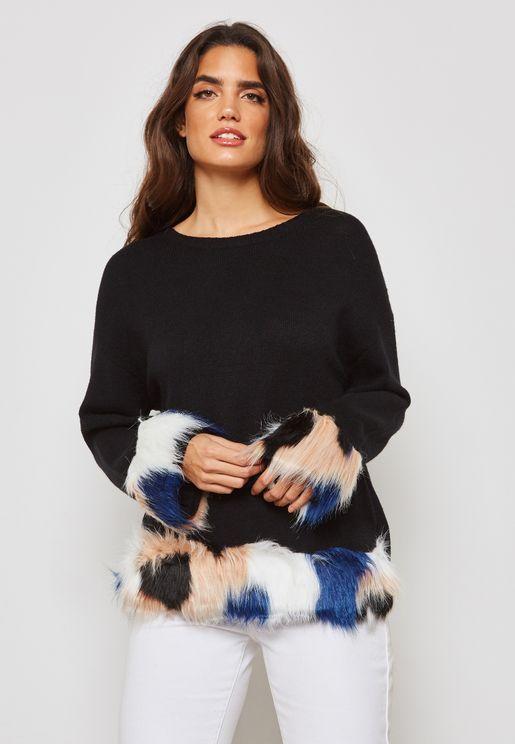 Multicolour Faux Fur Trim Sweater