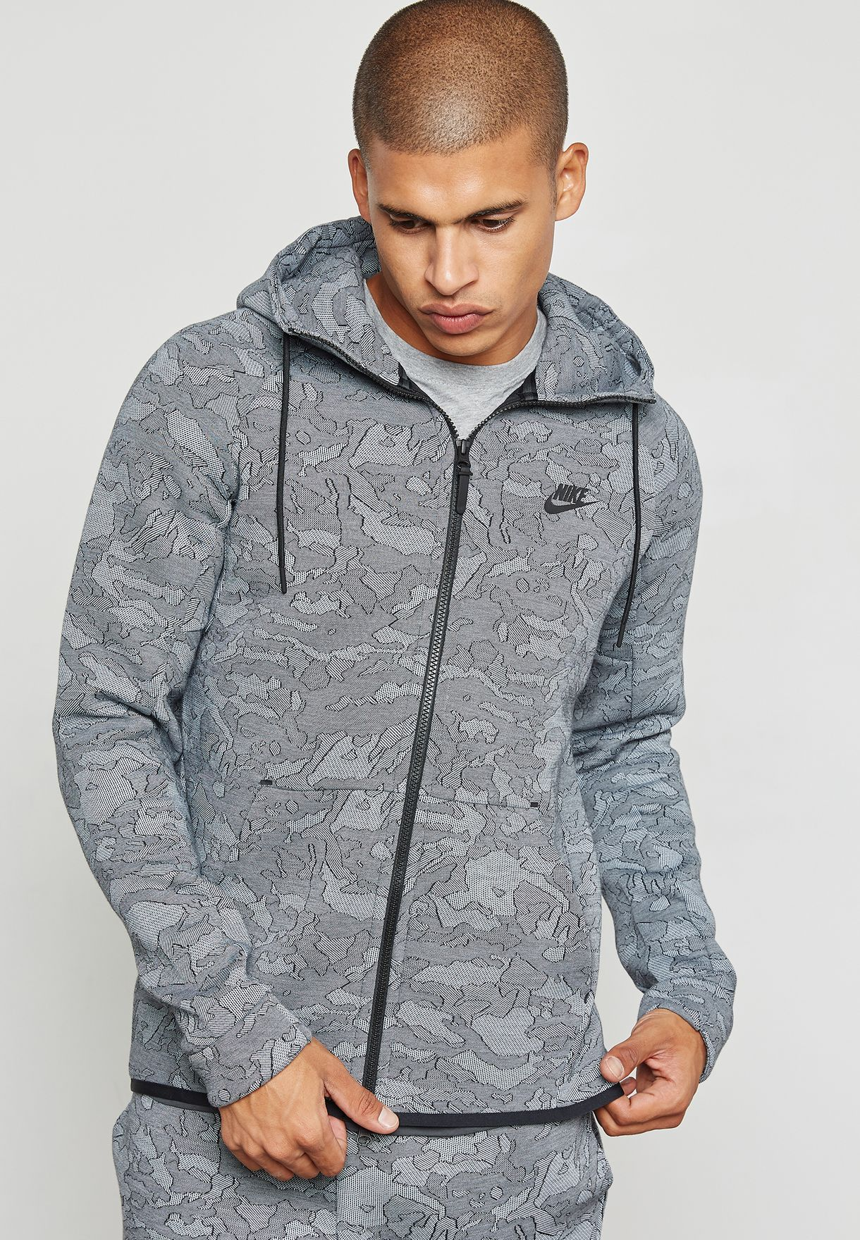 2b8d95205e09 Shop Nike prints Tech Fleece Jacquard Hoodie 863814-466 for Men in ...