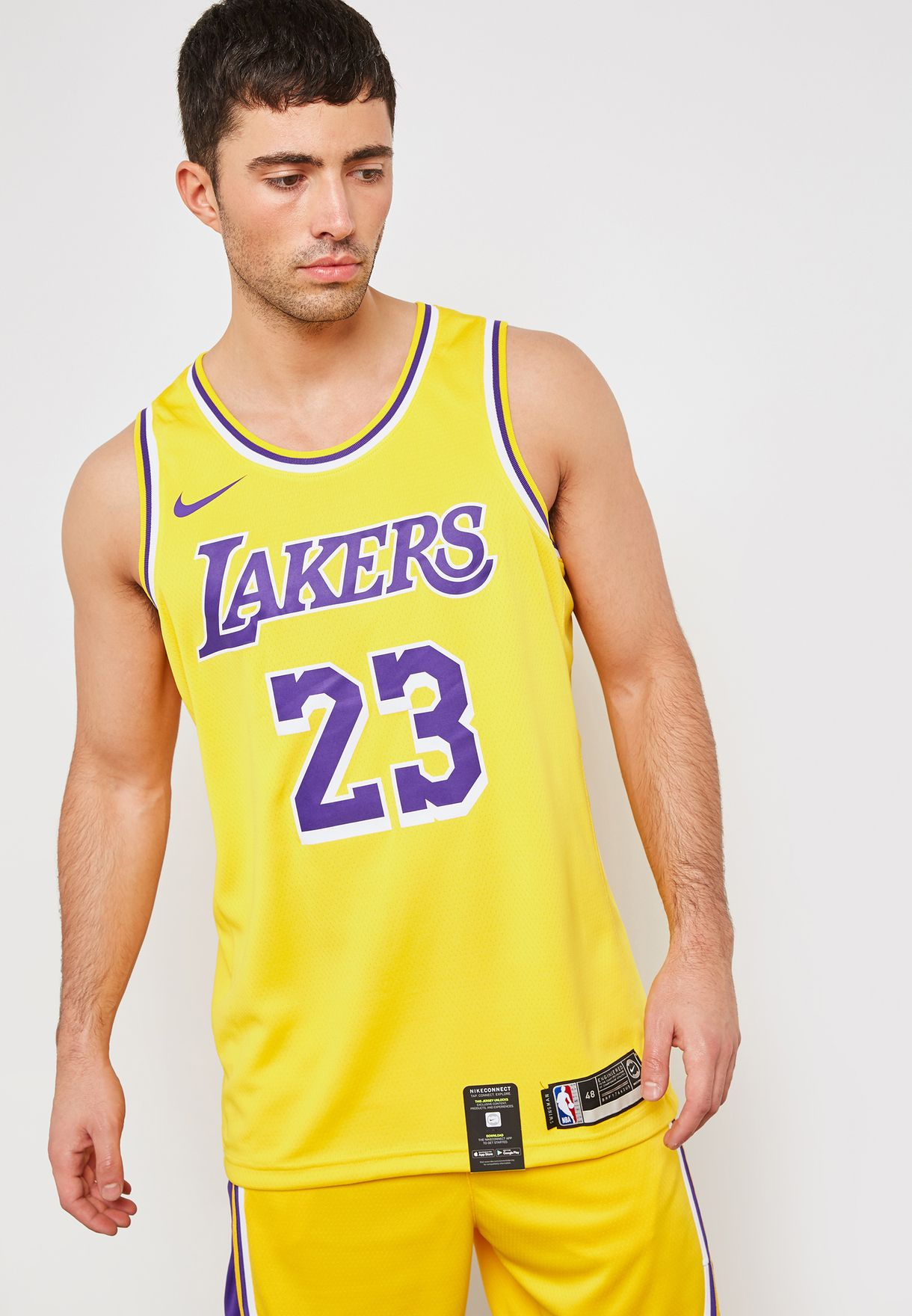 b3515397d527 Shop Nike yellow LA Lakers LeBron Swingman Jersey AA7099-741 for Men ...