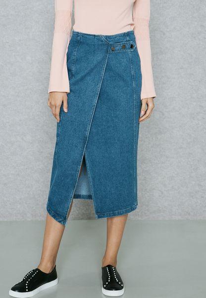Front Split Denim Wrap Skirt