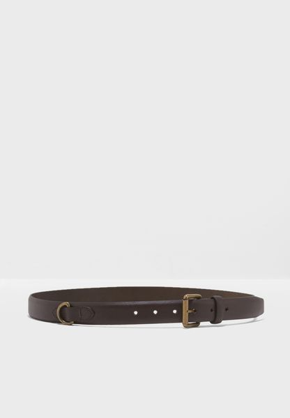 Faux Leather Belt With Brushed Gold Buckle