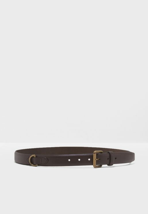 Leather Belt With Brushed Gold Buckle