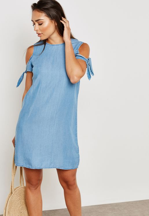 Tie Sleeve Cold Shoulder Dress
