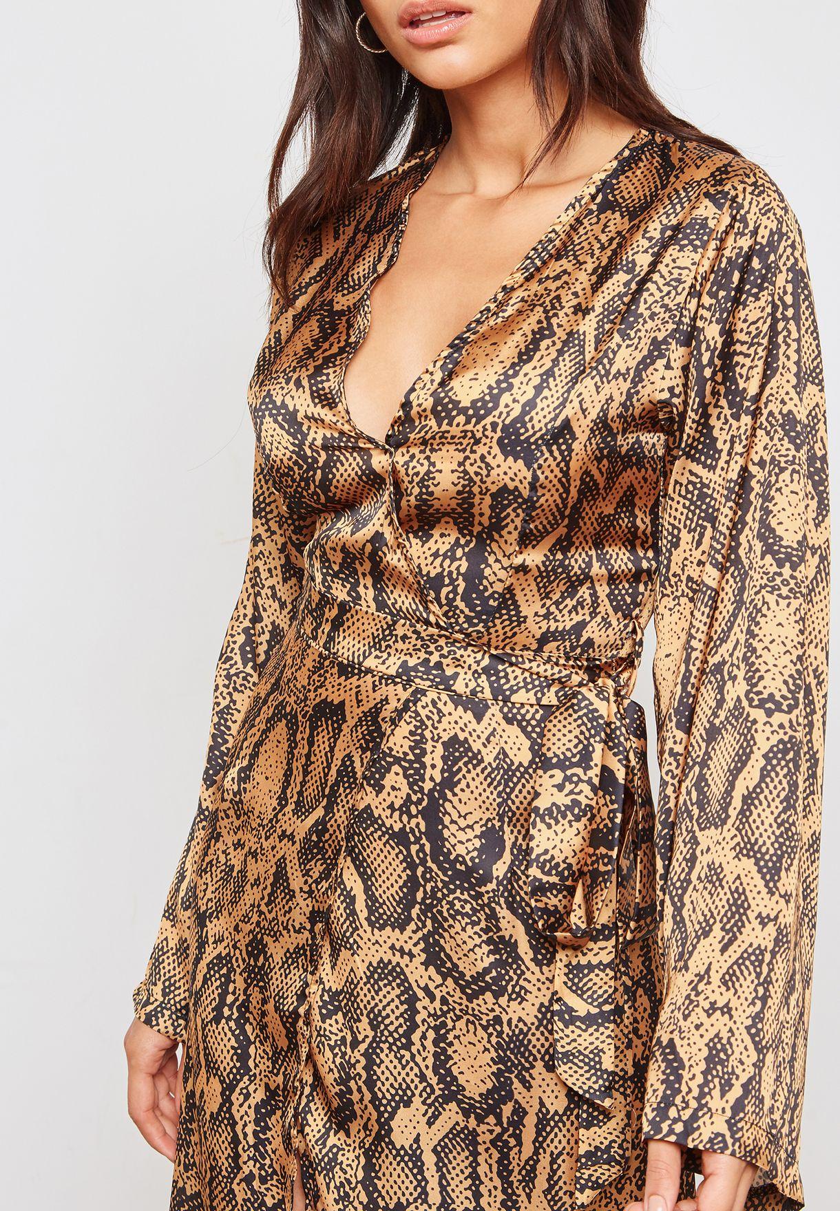 Snake Print Wrap Front Maxi Dress