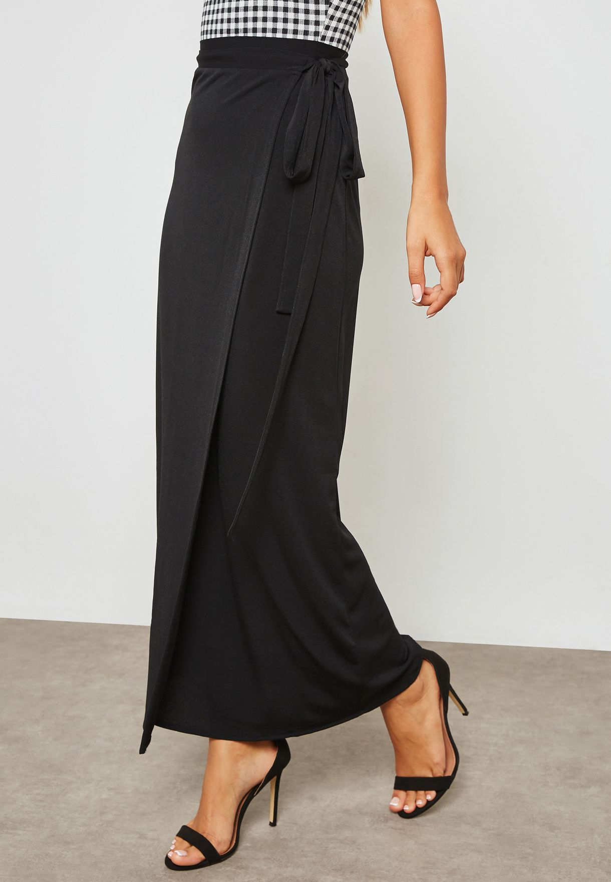 6f8a10ccc Shop Forever 21 black Wrap Maxi Skirt 280436 for Women in UAE ...