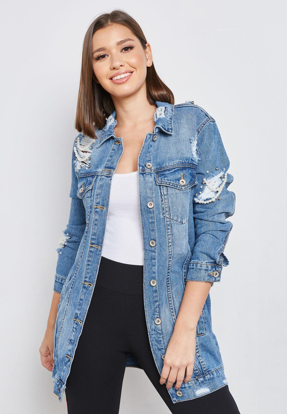 a33f5589dcf70 تسوق جاكيت جينز طويل مزين باللؤلؤ ماركة جينجر لون أزرق W3170 في ...