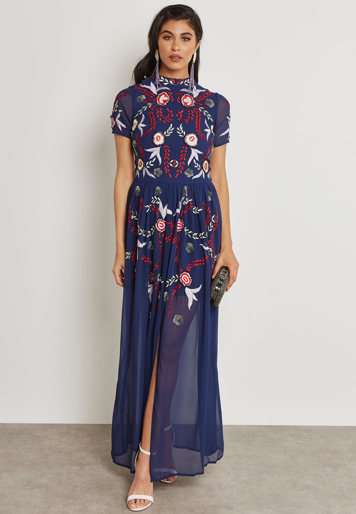 Embroidered Mesh Skirt Dress