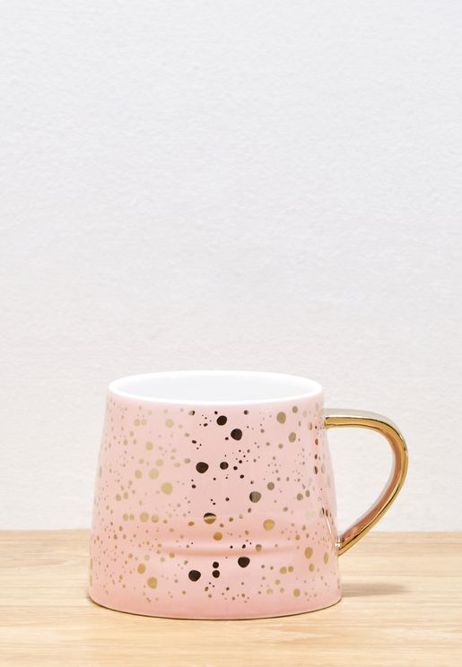 Speckled Mug With Gold Handle