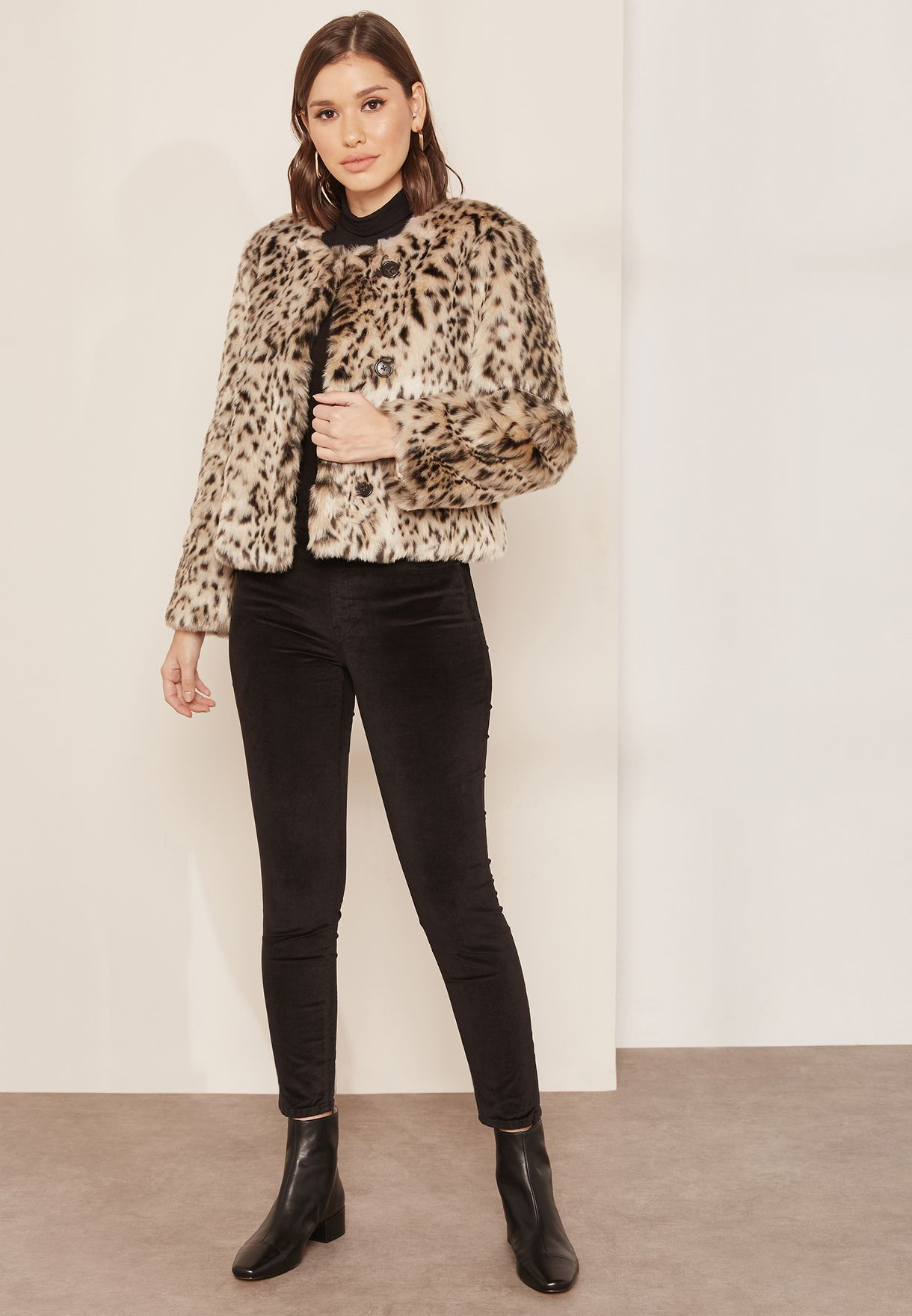 Cropped Snow Leopard Coat