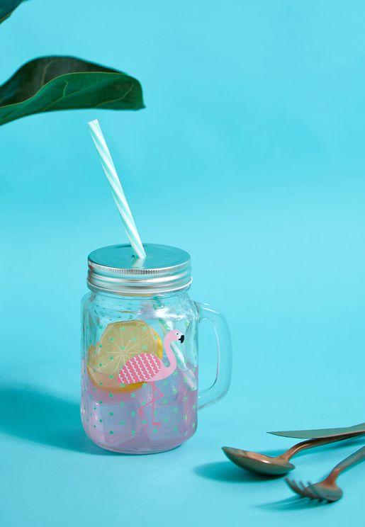 Tropical Flamingo Mason Drinking Jar
