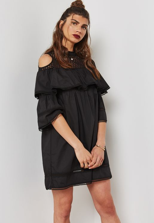 Mesh Insert Tiered Ruffle Shift Dress