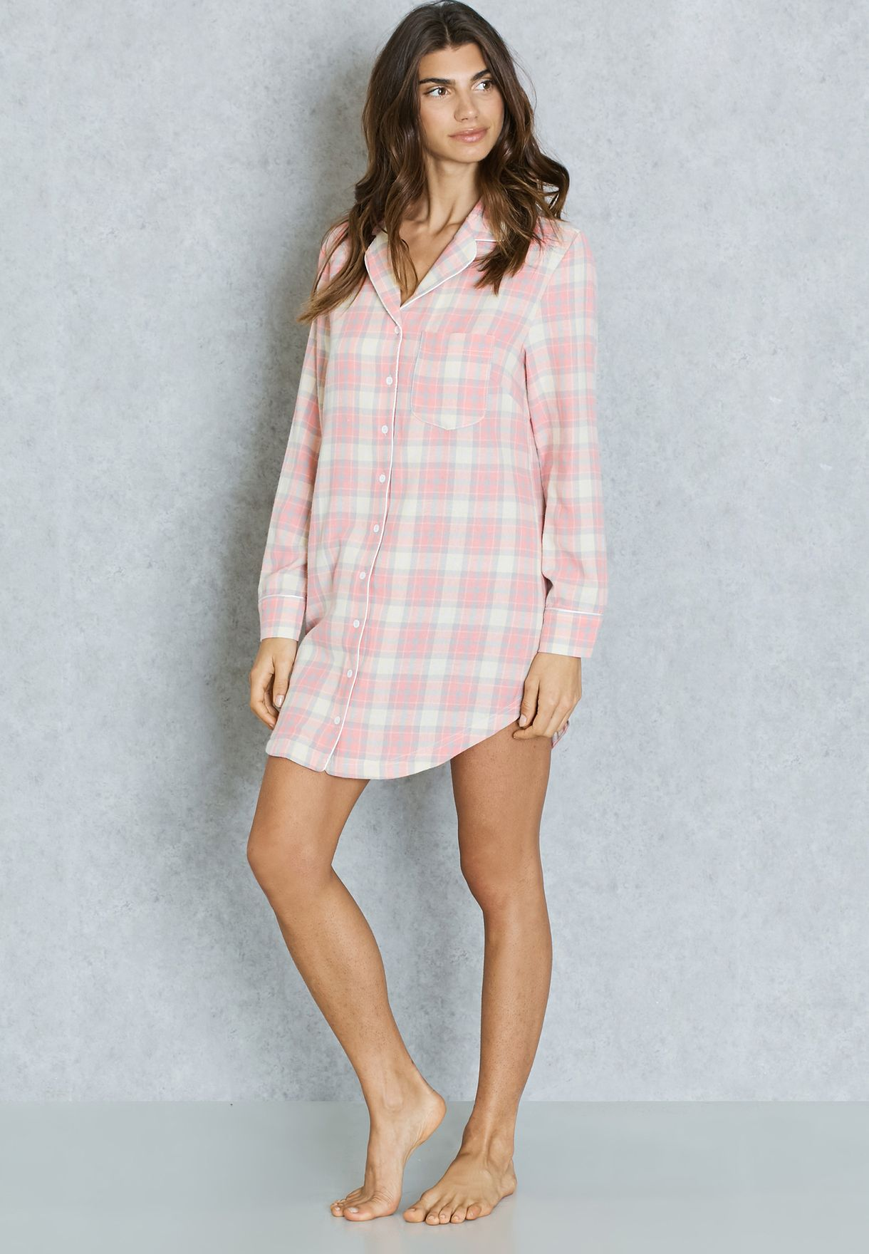 Shop Chelsea Peers pink Checked Night Shirt for Women in UAE ... 428d88891