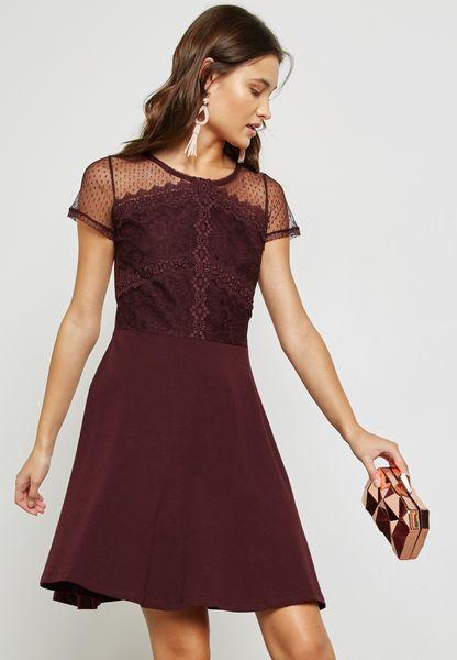 Lace Mesh Skater Dress