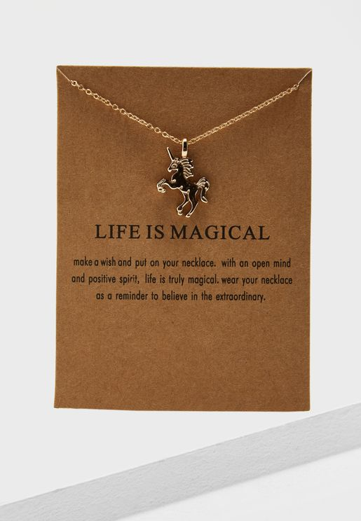 Life Is Magical Necklack On Card